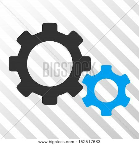 Blue And Gray Gears toolbar icon. Vector pictogram style is a flat bicolor symbol on diagonal hatch transparent background.