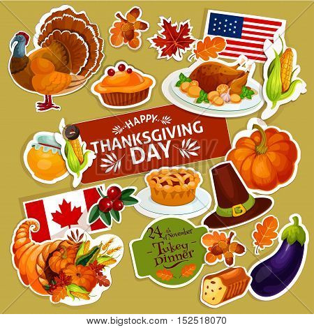 Thanksgiving celebration stickers set. Isolated decoration stickers with cut line. Vector symbols of thanksgiving day turkey, cornucopia, vegetables harvest, corn, pumpkin, american and canada flags for greeting, sale, tag design
