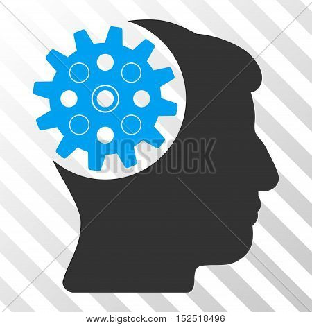 Blue And Gray Head Gear interface toolbar icon. Vector pictograph style is a flat bicolor symbol on diagonal hatch transparent background.