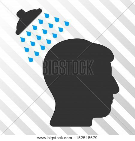 Blue And Gray Head Shower toolbar icon. Vector pictogram style is a flat bicolor symbol on diagonal hatch transparent background.