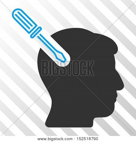 Blue And Gray Head Surgery Screwdriver toolbar pictogram. Vector pictogram style is a flat bicolor symbol on diagonal hatch transparent background.