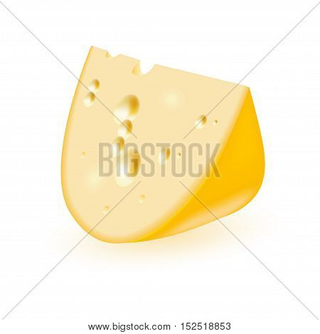 Triangular piece of cheese isolated on white background. Vector