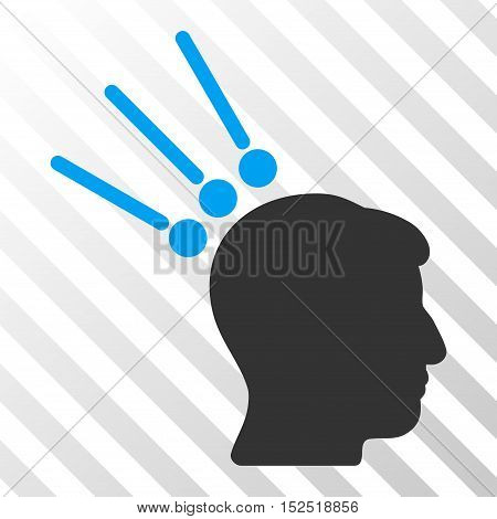 Blue And Gray Head Test Connectors toolbar icon. Vector pictogram style is a flat bicolor symbol on diagonal hatch transparent background.