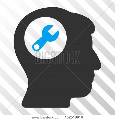 Blue And Gray Head Wrench toolbar pictogram. Vector pictogram style is a flat bicolor symbol on diagonal hatch transparent background.