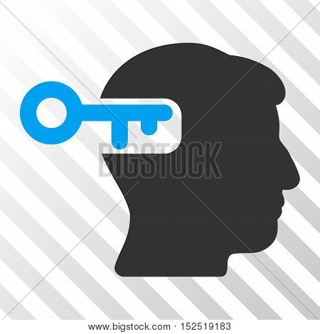 Blue And Gray Intellect Key interface pictogram. Vector pictograph style is a flat bicolor symbol on diagonal hatch transparent background.