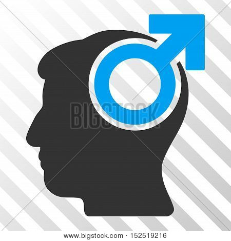 Blue And Gray Intellect Potency toolbar pictogram. Vector pictogram style is a flat bicolor symbol on diagonal hatch transparent background.