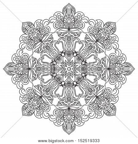 Contour Mandala for coloring book. Decorative round ornament. Anti-stress therapy pattern. Floral design element. Yoga logo, background for meditation poster. Unusual flower shape. Oriental vector.