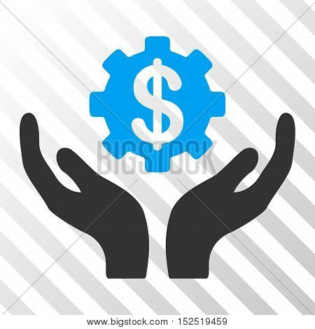 Blue And Gray Maintenance Price interface pictogram. Vector pictograph style is a flat bicolor symbol on diagonal hatch transparent background.