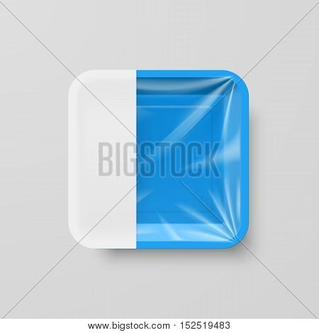 Empty Blue Plastic Food Square Container with Empty Label on Gray