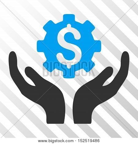 Blue And Gray Maintenance Price interface icon. Vector pictograph style is a flat bicolor symbol on diagonal hatch transparent background.