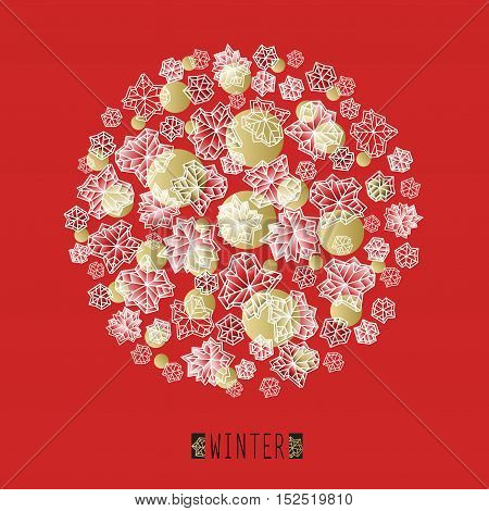 Round shape design. Winter polygonal trendy style snowflakes on red and gold background. Winter holidays snowfall concept winter label. Fall snowflake snow red white vector illustration stock vector.