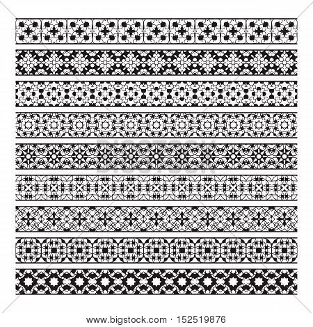 Traditional ornamental borders set. Page decoration elements