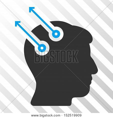 Blue And Gray Neural Interface Plugs toolbar icon. Vector pictogram style is a flat bicolor symbol on diagonal hatch transparent background.