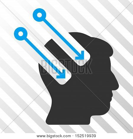 Blue And Gray Neural Interface toolbar icon. Vector pictograph style is a flat bicolor symbol on diagonal hatch transparent background.