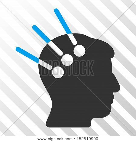 Blue And Gray Neural Interface interface icon. Vector pictograph style is a flat bicolor symbol on diagonal hatch transparent background.