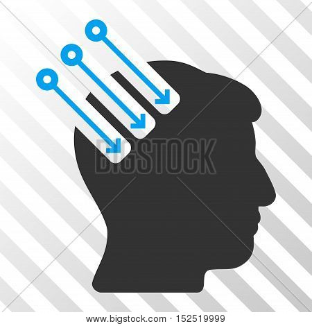 Blue And Gray Neuro Interface interface icon. Vector pictogram style is a flat bicolor symbol on diagonal hatch transparent background.
