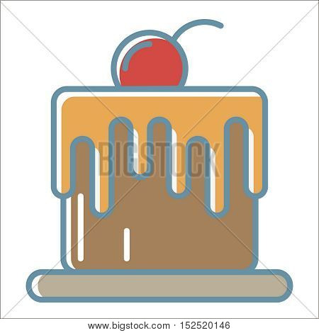 Cake icon. Thin line vector cake peefect for web and mobile applications, can be used as logo, pictogram, icon, infographic element. Vector Illustration.