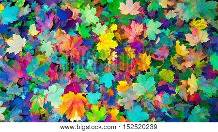 Colorful autumn leaves Autumn background Colors of Fall in painting style