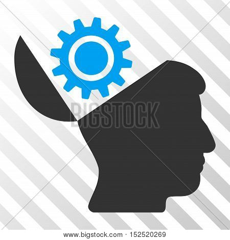 Blue And Gray Open Head Gear toolbar pictogram. Vector pictogram style is a flat bicolor symbol on diagonal hatch transparent background.