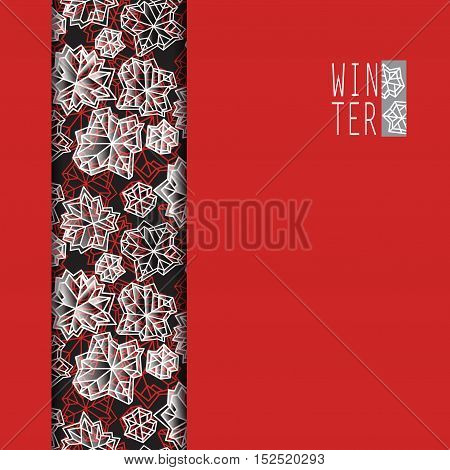 Vertical border frame. Winter polygonal trendy style snowflakes on red gold background. Winter holidays snowfall concept winter label. Fall snowflake snow red white vector illustration stock vector.