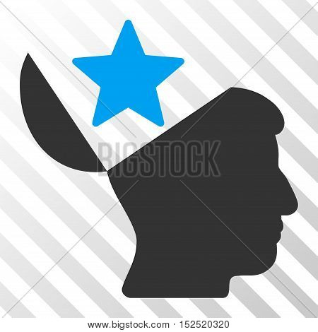 Blue And Gray Open Head Star toolbar icon. Vector pictogram style is a flat bicolor symbol on diagonal hatch transparent background.
