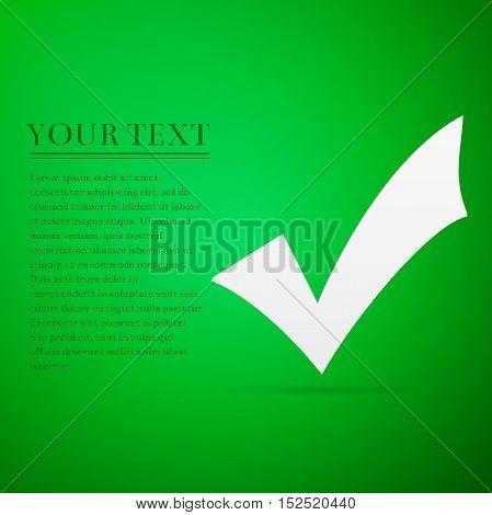 Check mark flat icon on green background. Adobe illustrator