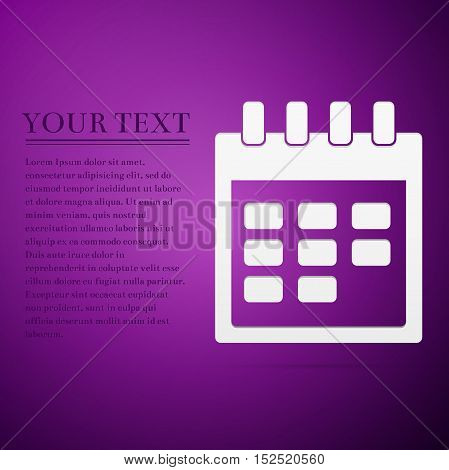 Calendar flat icon on purple background. Adobe illustrator
