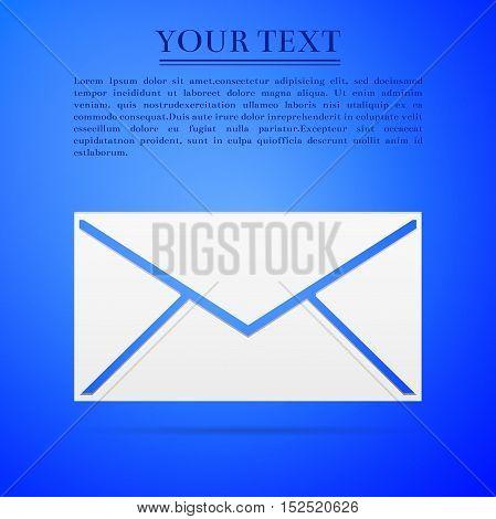 Envelope flat icon on blue background. Adobe illustrator
