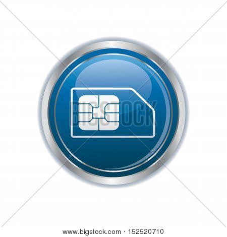 Sim card icon on the button. Vector illustration