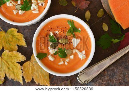 Puree soup pumpkin with potatoes and feta cheese