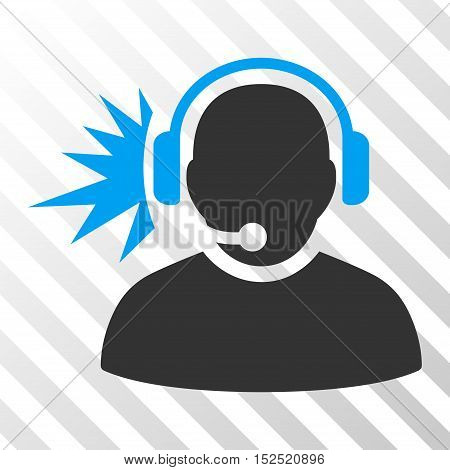 Blue And Gray Operator Headphones Signal interface icon. Vector pictogram style is a flat bicolor symbol on diagonal hatch transparent background.