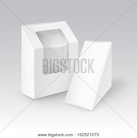 Vector Set of White Blank Cardboard Rectangle Triangle Take Away Boxes Packaging For Sandwich, Food, Gift, Other Products with Plastic Window Mock up Close up Isolated on White Background