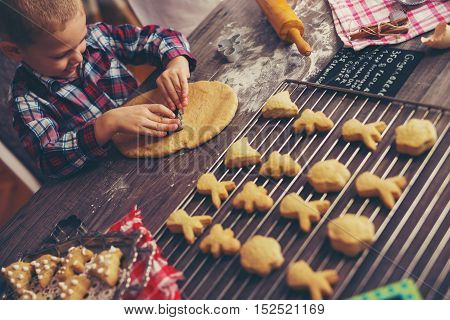 Child cutting gingerbread of metal molds at home