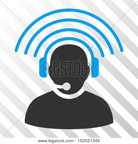 Blue And Gray Operator Radio Signal interface icon. Vector pictogram style is a flat bicolor symbol on diagonal hatch transparent background.