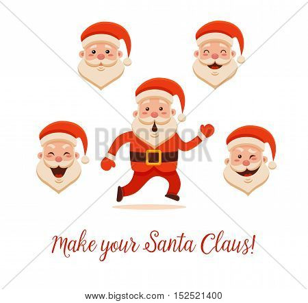 Cartoon Santa Claus for Your Christmas and New Year greeting Design or Animation. Vector isolated illustration of surprised Santa Claus running and different emotions in colorful flat style