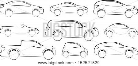 Set of car silhouettes different type. Vector illustration.