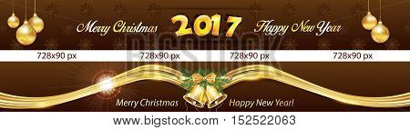 Christmas and New Year 2017 web banners with snowflakes, Christmas Baubles and jingle bells. Space for your own advertising.