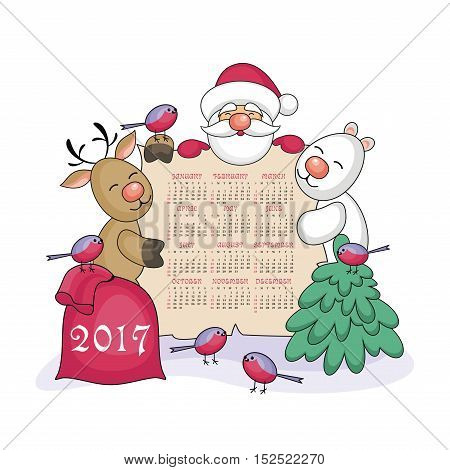 calendar 2017 with the image of funny animals and  Santa Claus.