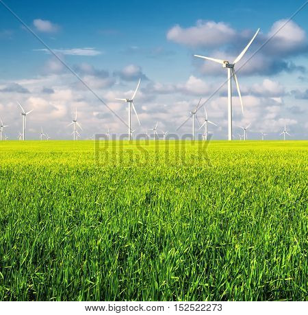 Wind power station on field. Ecological energy concept