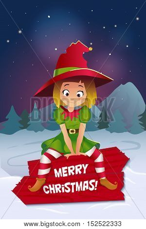 Merry christmas colorful card design, Santa Claus elf helper. Happy New Year Greeting Background .