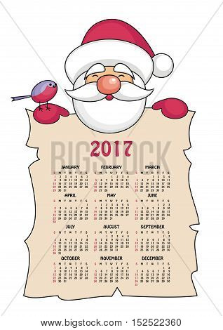 calendar 2017 with the image of funny  Santa Claus.