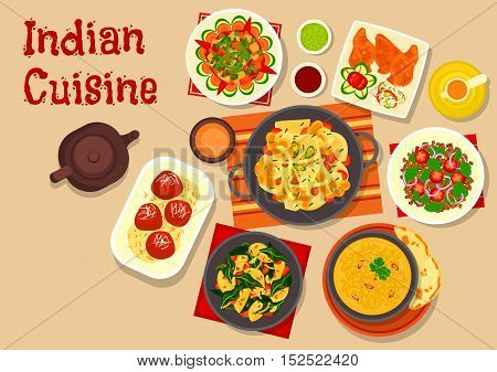 Indian cuisine vegetarian dishes icon with lentil soup, vegetable stew, green chatni, lentil tomato salad, potato spinach stew, cauliflower potato casserole and fried milk balls in sugar syrup