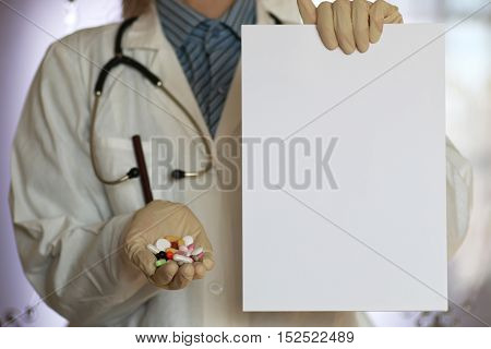drugs in doctor hand concept healthy life