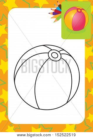 Coloring page. Toy ball. Vector illustration. Vector illustration