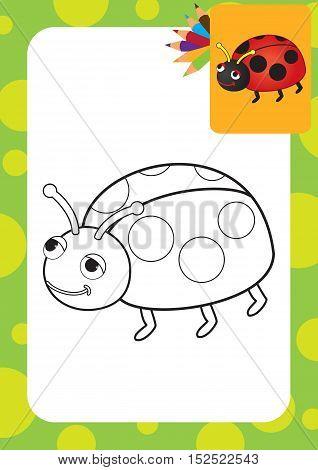 Cartoon ladybug toy. Coloring page. Vector illustration