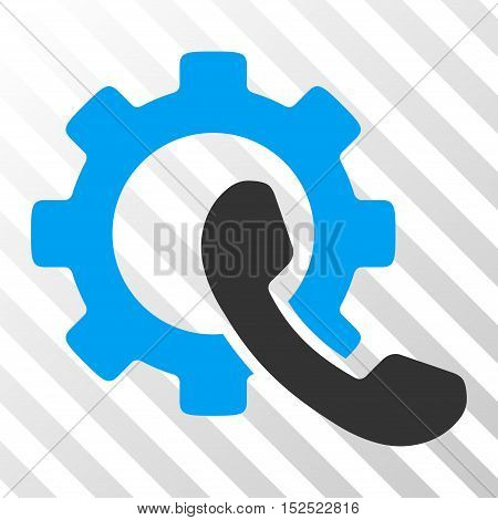 Blue And Gray Phone Configuration interface toolbar icon. Vector pictogram style is a flat bicolor symbol on diagonal hatch transparent background.