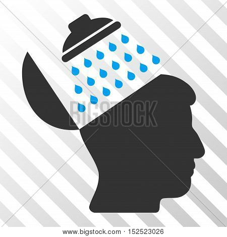 Blue And Gray Propaganda Brain Shower interface pictogram. Vector pictograph style is a flat bicolor symbol on diagonal hatch transparent background.