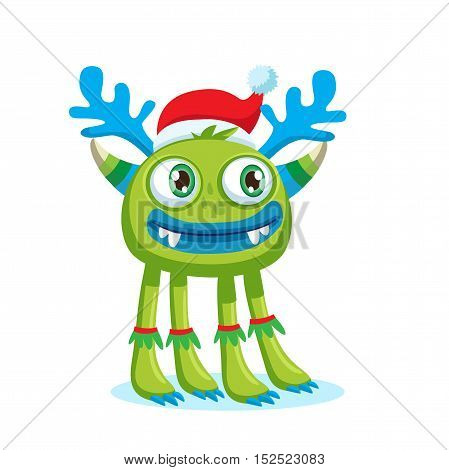 Green Christmas Monster Vector. Holiday Cartoon Mascot. Isolated On White Background. Merry Christmas Happy New Year Congratulation Decoration Design Element. Good For Xmas Card Banner.