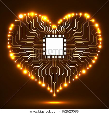 Abstract neon electronic circuit board in shape of heart, technology background