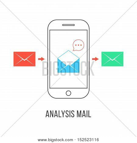 analysis mail with colored letters and smartphone. concept of e-commerce, service, inbox, promotion, analytics sms, spam. isolated on white background. flat style modern design vector illustration